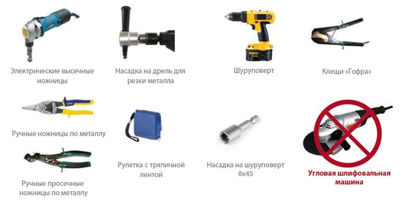 Инструменты для работы с металлопрофилем